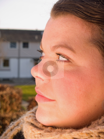 Close Portrait of a beautiful Young woman stock photo, Close Portrait of a beautiful caucasian woman looking by Phillip Dyhr Hobbs