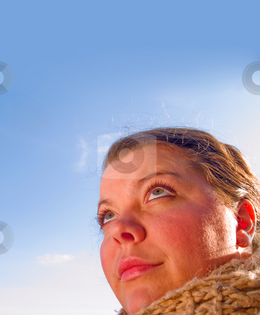 Beauty - Close up Portrait of a woman looking up  stock photo, Beauty - Close up Portrait of a woman looking up at copyspace by Phillip Dyhr Hobbs