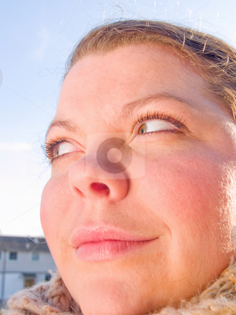Close up Portrait of a woman thinking stock photo, Beauty - Close up Portrait of a woman thinking by Phillip Dyhr Hobbs