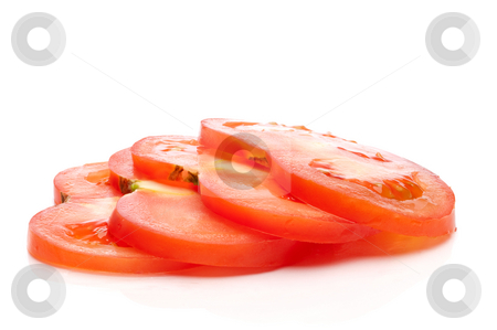 A horizontal image of a stack of 4 fresh tomato slices stock photo, A horizontal image of a stack of 4 fresh tomato slices by Vince Clements