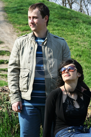 Together stock photo, The guy with the girl on a meadow by Aleksandr GAvrilov
