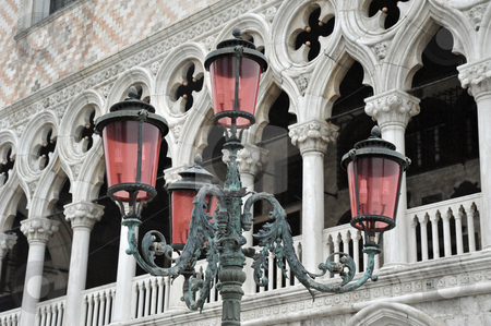San Marco lights stock photo, Lamppost with pink covers in San Marco Square, Venice Italy by Jaime Pharr