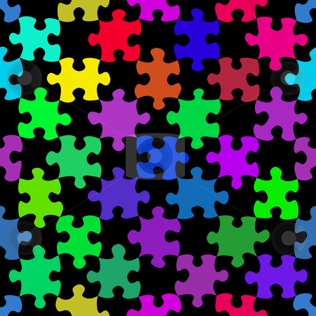 Vibrant jigsaw pieces pattern stock photo, Seamless texture of colorful jigsaw puzzle pieces by Wino Evertz