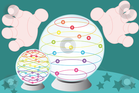 Crystal fortune-teller globe stock vector clipart, Fortune-teller hands arround a crystal globe by Karin Claus