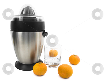 Juicer stock photo, Stainless steel juicer with oranges for juice by John Teeter
