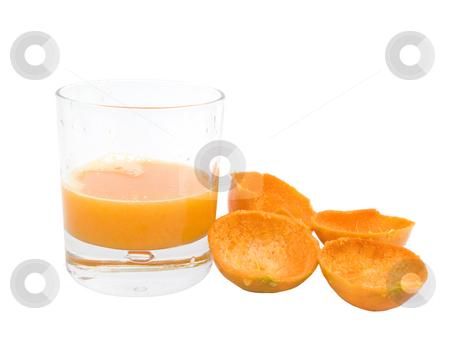 Orange Juice stock photo, Orange Juice with rinds on a white background by John Teeter