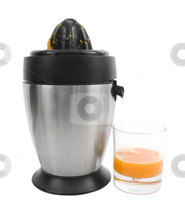 Juicer stock photo, Stainless steel juicer with oranger juice on a white background by John Teeter