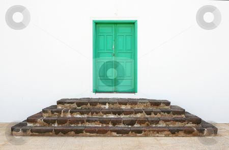 Monastery Door stock photo, A small green door to a monastery in Teguise, Lanzarote by Helen Shorey