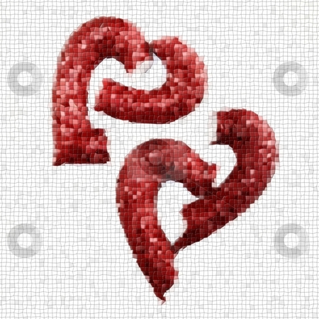 Broken Heart Mosaic stock photo, Pieces of a red broken hard on white background by Henrik Lehnerer