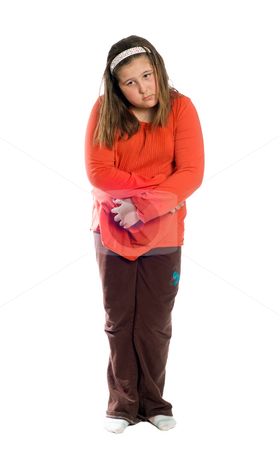 Diarrhea stock photo, A full body view of a preteen girl holding her stomach because of diarrhea, isolated against a white background by Richard Nelson