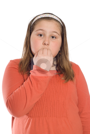 Nervous Child stock photo, A nervous child chewing her fingernails, isolated against a white background by Richard Nelson