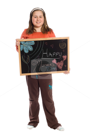 Happy Mothers Day stock photo, A young girl holding up a chalkboard for mothers day, isolated against a white background by Richard Nelson