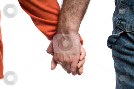 Caring stock photo, Closeup view of a father holding his daughters hand, isolated against a white background by Richard Nelson