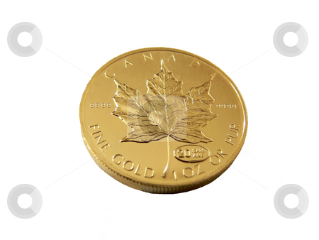Gold coin   stock photo, An 50 dollar fine gold coin from the mint in Canada. by Horst Petzold