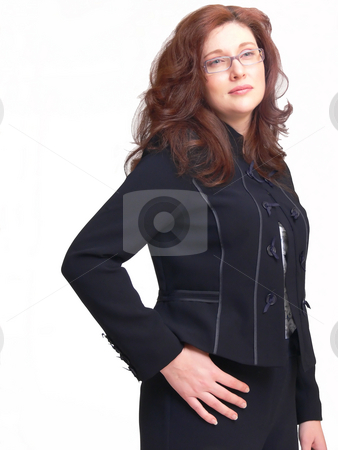 Young lady   stock photo, A young lady wearing an blouse and an jacket on white background is looking to the camera. by Horst Petzold