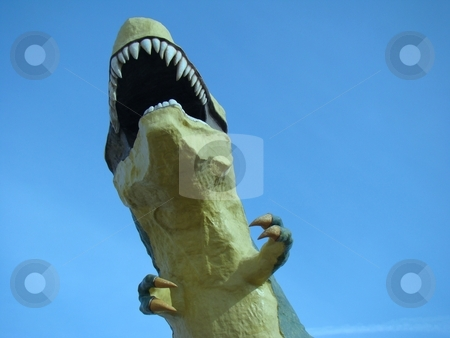 Large Dinosaur stock photo, Large dinosaur mouth wide open reaching to the sky by CHERYL LAFOND