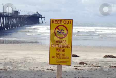 Polluted Water stock photo, A warning sign for polluted water, Imperial Beach, California by Stephen Gibson