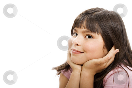 Cute Girl stock photo, Cute mixed race girl -Isolated on white by iodrakon