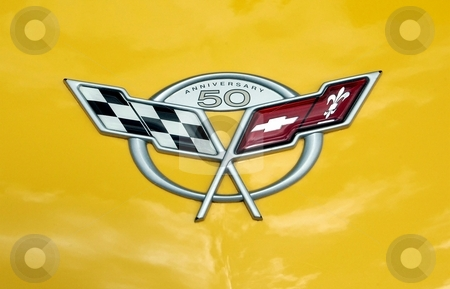 2003 Corvette Anniversary Emblem stock photo, This is the Emblem on the hood of the 50th Anniversary Addition Corvette. by Joe Shortridge