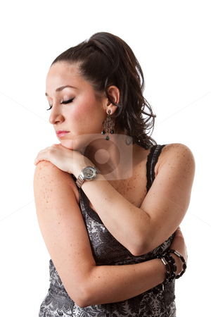Beautiful sensitive woman stock photo, Beautiful caucasian woman expressing sensitive with eyes closed and hugging herself, isolated by Paul Hakimata
