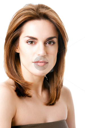 Beautiful female face stock photo, Beautiful brunette face, natural and pure, isolated by Paul Hakimata