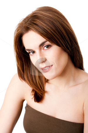 Beautiful female face stock photo, Beautiful brunette face with mole on lip, natural and pure, isolated by Paul Hakimata