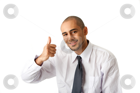 Business man, thumb up stock photo, Torso of a handsome African Hispanic business man in white shirt and gray tie and thumb up, isolated by Paul Hakimata