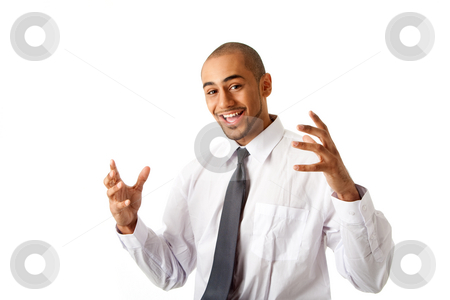 Happy handsome business man stock photo, Torso of a handsome happy African Hispanic business man in white shirt and gray tie and hands up, isolated by Paul Hakimata