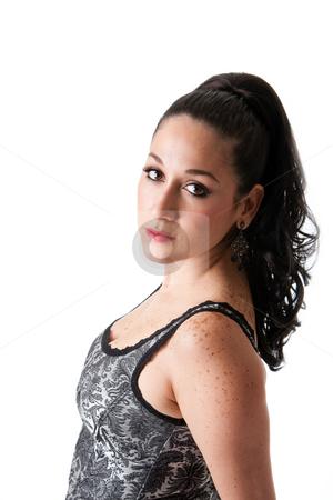 Beautiful female stock photo, Beautiful caucasian female with ponytail wearing gray tank top, isolated by Paul Hakimata
