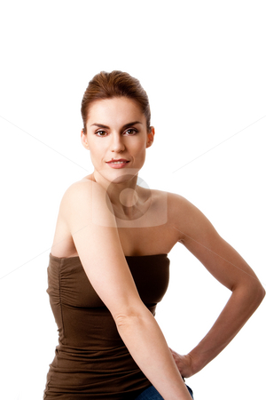 Beautiful female  stock photo, Torso of beautiful brunette with mole on lip and arm at hip, natural and pure, isolated by Paul Hakimata