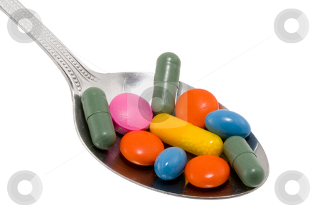 Spoon of Drugs stock photo, A spoon full of different kinds of drugs by Petr Koudelka