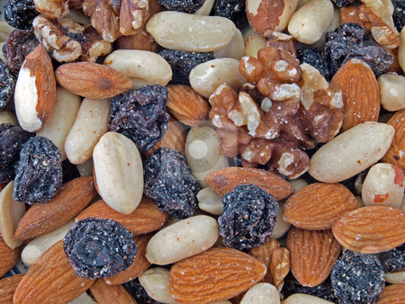 Mixted fruit and nuts. stock photo, Closeup of  healthy mixted fruit and nuts. by Ian Langley