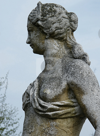 Female Garden Statue stock photo, Female Garden Statue (close up) on a early spring day. by Dazz Lee Photography