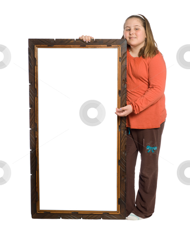 Child Holding Sign stock photo, Full body view of a young girl holding a sign with a wooden border, isolated against a white background by Richard Nelson