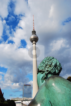 Tower To Tower stock photo, View at the communication tower in Berlin, Germany by Diana Hartmann