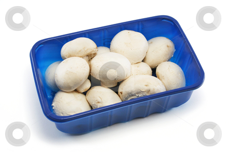 Supermarket Punnet of Mushrooms stock photo, Blue plastic punnet of ordinary white mushrooms from a supermarket by Helen Shorey