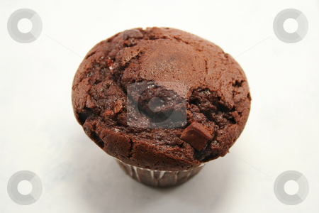 Chocolate Muffin from above stock photo, Delicious (believe me, I ate it afterwards!!) chocolate muffin with chocolate chips by Helen Shorey