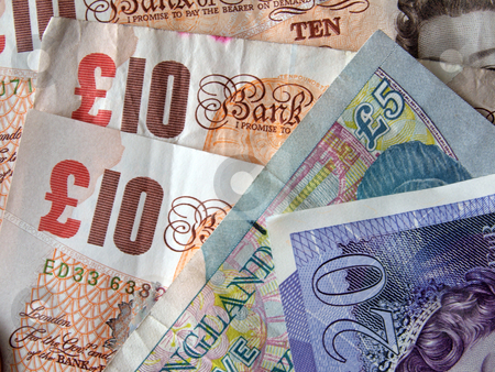 British (uk) currency. stock photo, Close up of British currency, notes and coins. by Ian Langley