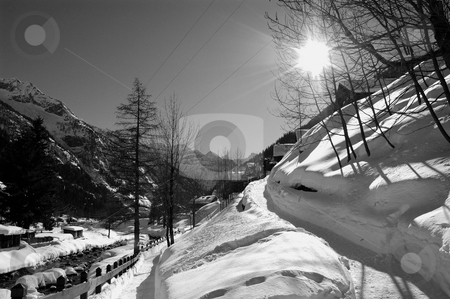 Alpine winter scenery stock photo, Alpine winter scenery (Val Formazza, Italy) by ALESSANDRO TERMIGNONE