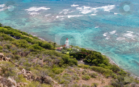 Paradise Light stock photo, Lighthouse on the shores of South Oahu, just below Diamond Head volcano. by Rick Parsons