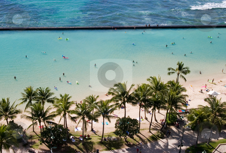 Waikiki Beach stock photo, Waikiki Beach as viewed from our hotel room lanai. by Rick Parsons