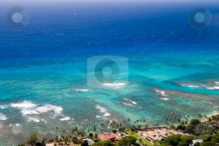 Paradise Blue stock photo, The beautiful blue ocean off the coast of Diamond Head volcano. by Rick Parsons