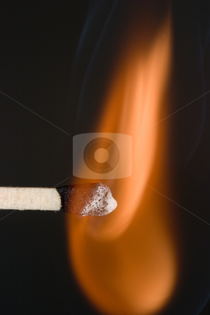 Igniting Match stock photo, Close-up of a match as it first catches fire. by Rick Parsons