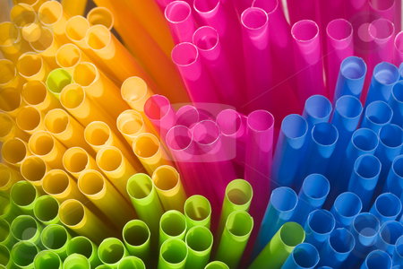 Straws stock photo, Multi-coloured straws grouped together (viewed from the end - macro). by Rick Parsons