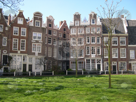 Houses in Amsterdam stock photo, Houses in Begijnhof Square, Amsterdam by Jaime Pharr