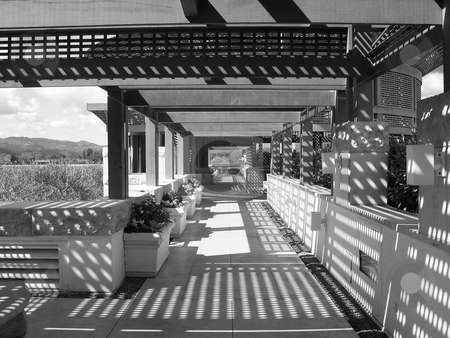 Opus One deck stock photo, Black and white image of deck/terrace at Opus One winery by Jaime Pharr