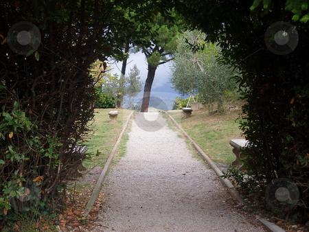San Gimignano path stock photo, Path through archway in San Gimignano Italy by Jaime Pharr