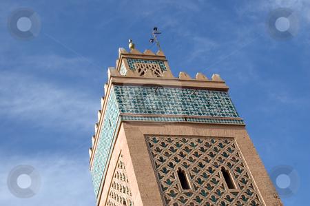 Marrakesh Minaret stock photo, A Minaret detail of am mosque in the Marrakesh center, Morocco by Roberto Marinello