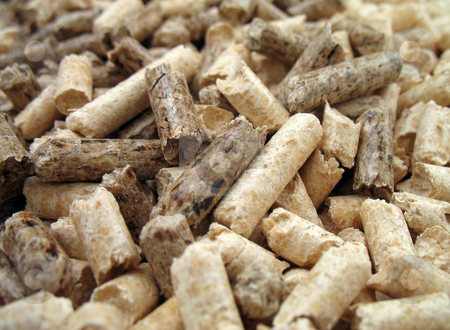 Wood pellets close-up stock photo, Wood pellets for fireplaces and stoves, extreme close up by Roberto Marinello