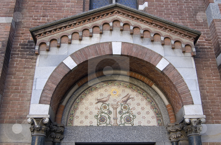 Arch mosaic stock photo, A mosaic in a arch of an old church by Roberto Marinello